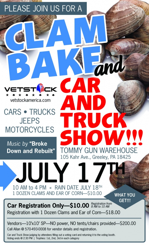 SATURDAY ! Saturday !!! Saturday !!!! IT'S A HUGE CLAM BAKE , CAR, TRUCK, JEEP AND MOTOR CYCLE SHOW !!! BROUGHT TO YOU BY VETSTOCK AN ORGANIZATION STARTED BY LOCAL VETS. A CLAM BAKE, CAR, TRUCK, JEEP AND MOTOR CYCLE SHOW SATURDAY JULY 17TH AT THE TOMMY GUN WAREHOUSE IN GREELEY . FROM 10 AM TO 4 PM CLAMS , CORN AND MORE!! ONE DOZEN CLAMS AND AN EAR OF CORN ONLY TEN DOLLARS. BRING YOUR CLASSIC CAR , TRUCK , JEEP OR MOTOR CYCLE -  PRIZES WILL BE AWARDED. REGISTRATION DAY OF FOR $10!! MUSIC BY BROKE DOWN AND REBUILT ! FOR MORE INFO  CALL ALLAN AT 570-493-0008! THAT'S 570-493-0008! CLAMS , CARS ,  TRUCKS, JEEPS, MOTORCYCLES, CORN , MUSIC AND FUN ! SATURDAY ! SATURDAY !! SATURDAY!!!! JULY 17TH AT THE TOMMY GUN WAREHOUSE IN GREELEY. ALL THIS AND YOUR HELPING OUR LOCAL VETS Saturday! Saaaaturday !!!Saturday!!!!!! JULY 17TH AT THE TOMMY GUN WAREHOUSE IN GREELEY !!! !  RAIN DATE JULY 18TH ! THIS EVENT BROUGHT TO YOU BY VETSTOCK! A 501C3.  CHECKOUT VETSTOCK ON FACEBOOK @vetstockamerica  #WE DO IT FOR VETS
